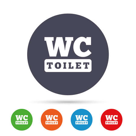 WC Toilet sign icon. Restroom or lavatory symbol. Round colourful buttons with flat icons. Vector Illustration