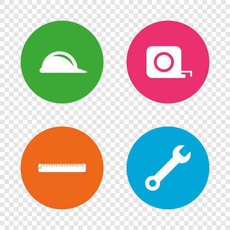 Bouw helm en moersleutel belangrijke gereedschapspictogrammen. Liniaal en meetlint roulette teken symbolen. Ronde knoppen op transparante achtergrond. Vector
