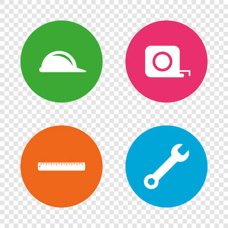 Construction helmet and wrench key tool icons. Ruler and tape measure roulette sign symbols. Round buttons on transparent background. Vector Ilustração