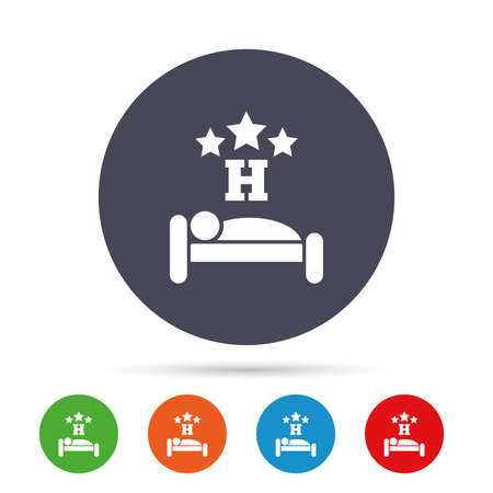 hotel bedroom: Three star Hotel apartment sign icon. Travel rest place. Sleeper symbol. Round colourful buttons with flat icons. Vector Illustration