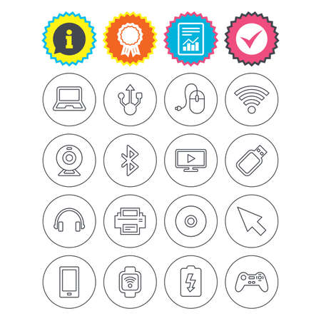 Report, information and award signs. Computer elements icons. Notebook, usb port and smartphone. Printer, smart watch and game console joystick. Bluetooth, flash stick and cursor pointer. Vector