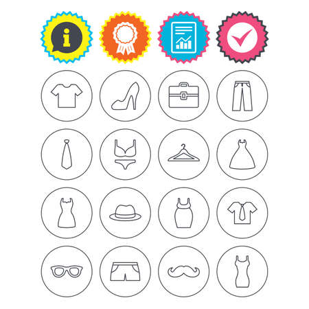 Report, information and award signs. Clothes and accessories icons. Shirt with tie, pants and woman dress symbols. Hat, hanger and glasses thin outline signs. Underwear and maternity clothes. Vector Illustration