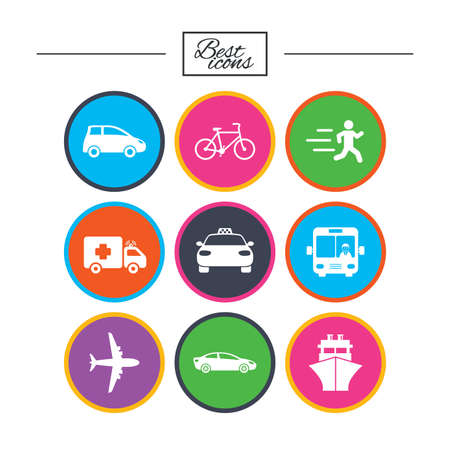 truck driver: Transport icons. Car, bike, bus and taxi signs. Shipping delivery, ambulance symbols. Classic simple flat icons. Vector Illustration