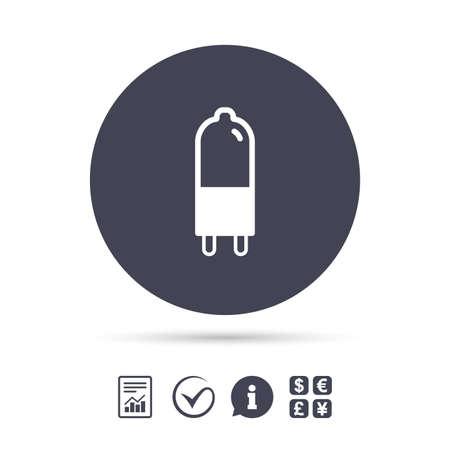 Light bulb icon. Lamp G9 socket symbol. Led or halogen light sign. Report document, information and check tick icons. Currency exchange. Vector Ilustração