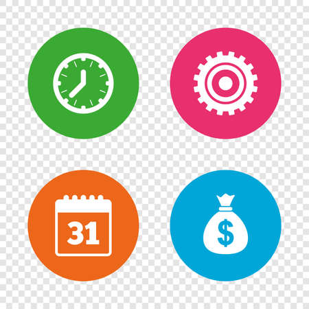 event planning: Business icons. Calendar and mechanical clock signs. Dollar money bag and gear symbols. Round buttons on transparent background. Vector