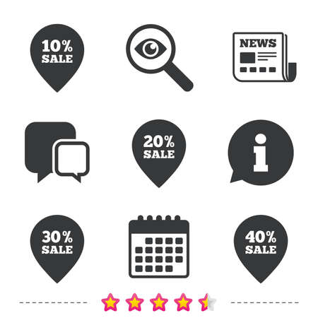 40: Sale pointer tag icons. Discount special offer symbols. 10%, 20%, 30% and 40% percent sale signs. Newspaper, information and calendar icons. Investigate magnifier, chat symbol. Vector