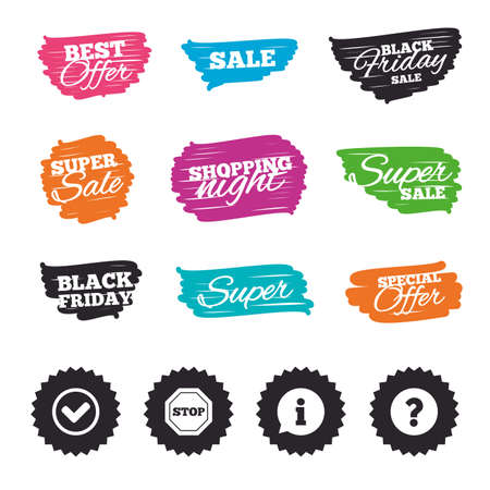 Ink brush sale banners and stripes. Information icons. Stop prohibition and question FAQ mark signs. Approved check mark symbol. Special offer. Ink stroke. Vector