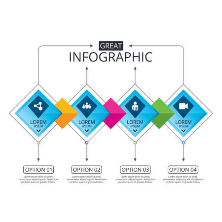 Infographic flowchart template. Business diagram with options. Group of people and share icons. Add user and video camera symbols. Communication signs. Timeline steps. Vector