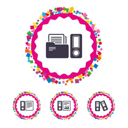 Web buttons with confetti pieces. Accounting report icons. Document storage in folders sign symbols. Bright stylish design. Vector Stock Vector - 78001464