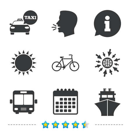 Transport icons. Taxi car, Bicycle, Public bus and Ship signs. Shipping delivery symbol. Speech bubble sign. Information, go to web and calendar icons. Sun and loud speak symbol. Vector
