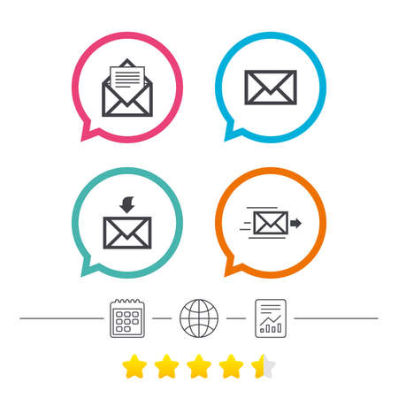 Mail envelope icons. Message document delivery symbol. Post office letter signs. Inbox and outbox message icons. Calendar, internet globe and report linear icons. Star vote ranking. Vector Illustration