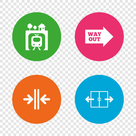 Underground metro train icon. Automatic door symbol. Way out arrow sign. Round buttons on transparent background. Vector Illustration