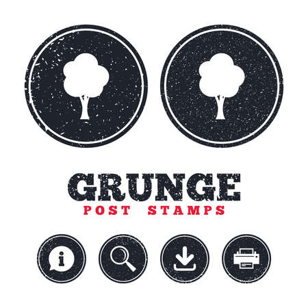 Grunge post stamps. Tree sign icon. Forest symbol. Information, download and printer signs. Aged texture web buttons. Vector Illustration