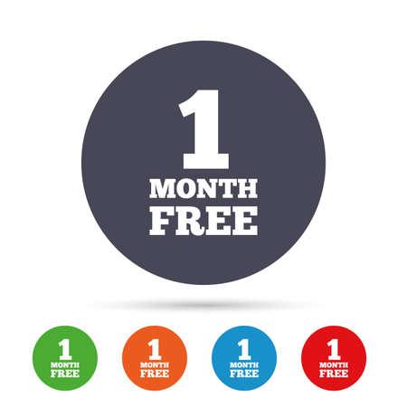 Eerste maand gratis tekenpictogram. Speciale aanbieding symbool. Ronde kleurrijke knoppen met plat pictogrammen. Vector