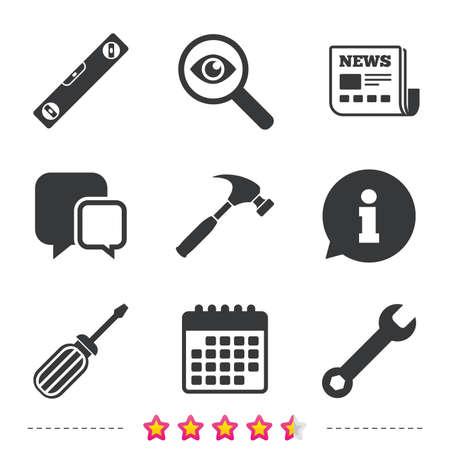 Schraubenzieher- und Schlüsselschlüssel-Werkzeugikonen. Wasserwaage und Hammer Zeichen Symbole. Zeitungs-, Informations- und Kalenderikonen. Lupe, Chat-Symbol untersuchen. Vektor Standard-Bild - 78001342