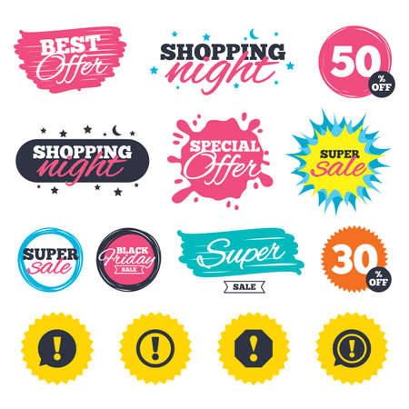 Sale shopping banners. Special offer splash. Attention icons. Exclamation speech bubble symbols. Caution signs. Web badges and stickers. Best offer. Vector