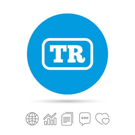 Turkse taal teken pictogram. TR Turkije vertaalsymbool met frame. Kopieer bestanden, praat tekstballonnen en grafiek web iconen. Vector