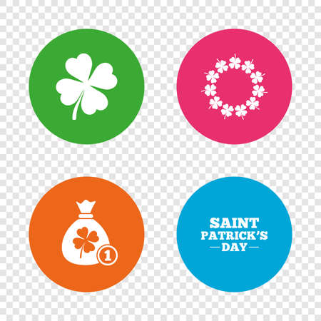 Saint Patrick day icons. Money bag with coin and clover sign. Wreath of quatrefoil clovers. Symbol of good luck. Round buttons on transparent background. Vector