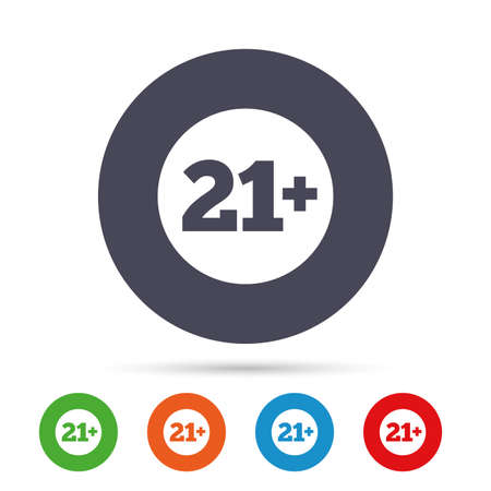 21 plus years old sign. Adults content icon. Round colourful buttons with flat icons. Vector Stock Vector - 78001324