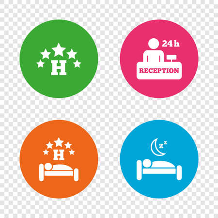 Five stars hotel icons. Travel rest place symbols. Human sleep in bed sign. Hotel 24 hours registration or reception. Round buttons on transparent background. Vector Illustration