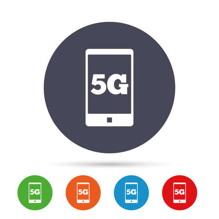 5G sign icon. Mobile telecommunications technology symbol. Round colourful buttons with flat icons. Vector