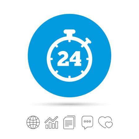 24 uur timer teken pictogram. Chronometer-symbool. Klantenservice. Kopieer bestanden, praat tekstballonnen en grafiek web iconen. Vector