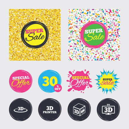 Gold glitter and confetti backgrounds. Covers, posters and flyers design. 3d technology icons. Printer, rotation arrow sign symbols. Print cube. Sale banners. Special offer splash. Vector Illustration