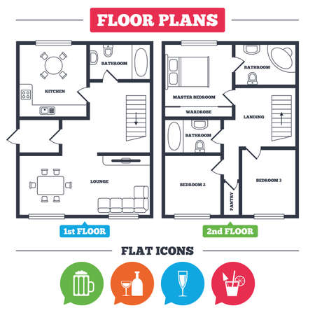 Architecture plan with furniture. House floor plan. Alcoholic drinks icons. Champagne sparkling wine and beer symbols. Wine glass and cocktail signs. Kitchen, lounge and bathroom. Vector
