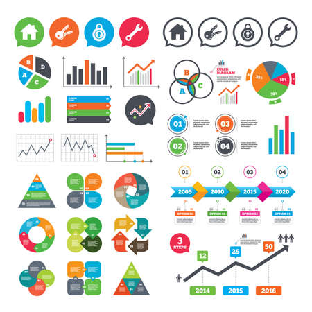 Business charts. Growth graph. Home key icon. Wrench service tool symbol. Locker sign. Main page web navigation. Market report presentation. Vector Illustration