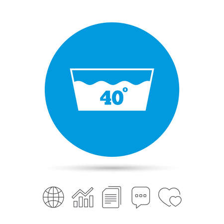 Wash icon. Machine washable at 40 degrees symbol. Copy files, chat speech bubble and chart web icons. Vector