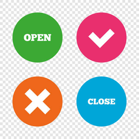 Open and Close icons. Check or Tick. Delete remove signs. Yes correct and cancel symbol. Round buttons on transparent background. Vector