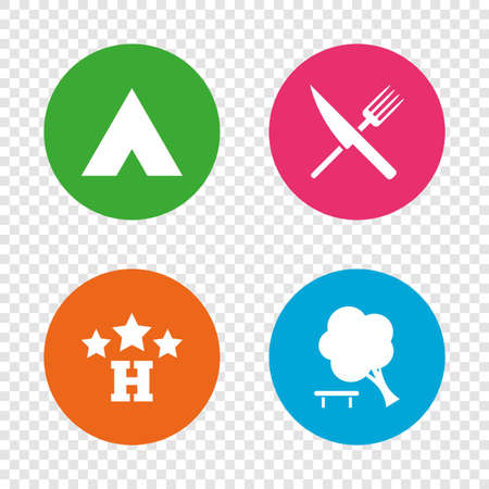 Food, hotel, camping tent and tree icons. Knife and fork. Break down tree. Road signs. Round buttons on transparent background. Vector Illustration