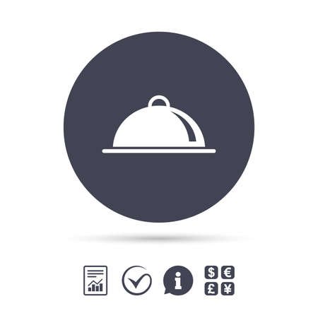 Food platter serving sign icon. Table setting in restaurant symbol. Report document, information and check tick icons. Currency exchange. Vector