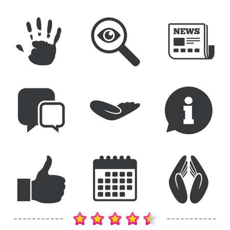Hand pictogrammen. Leuk duim omhoog symbool. Verzekering bescherming teken. Menselijke helpende schenkingshand. Gebedshanden. Krant, informatie en kalenderpictogrammen. Onderzoek vergrootglas, chat-symbool. Vector Stock Illustratie