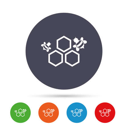 Honeycomb with bees sign icon. Honey cells symbol. Sweet natural food. Round colourful buttons with flat icons. Vector