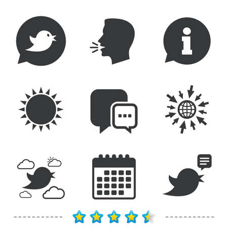 Birds icons. Social media speech bubble. Chat bubble with three dots symbol. Information, go to web and calendar icons. Sun and loud speak symbol. Vector Ilustrace