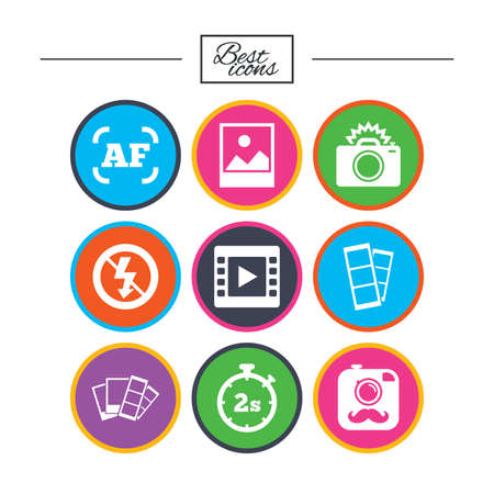 Photo, video icons. Camera, photos and frame signs. No flash, timer and strips symbols. Classic simple flat icons. Vector