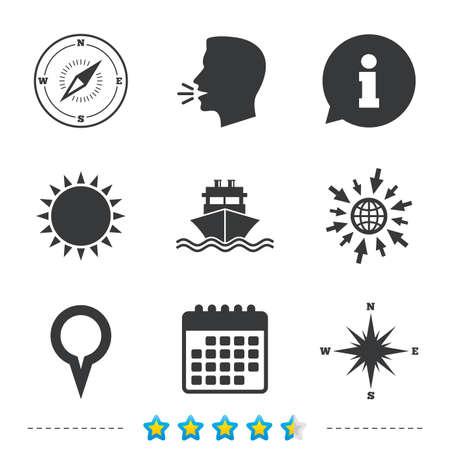 Windrose-Navigationskompass-Symbole. Versand Lieferung Zeichen. Positionskartenzeiger-Symbol Informationen, gehen Sie zu Web- und Kalendersymbolen. Sonne und laut sprechen Symbol. Vektor Standard-Bild - 78001159