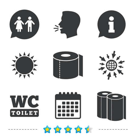 Toilet paper icons. Gents and ladies room signs. Paper towel or kitchen roll. Man and woman symbols. Information, go to web and calendar icons. Sun and loud speak symbol. Vector Illustration
