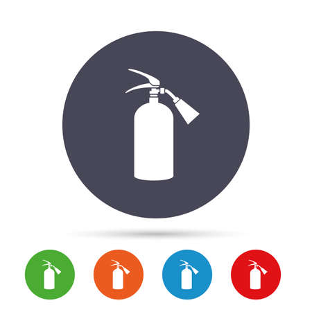 Fire extinguisher sign icon. Fire safety symbol. Round colourful buttons with flat icons. Vector
