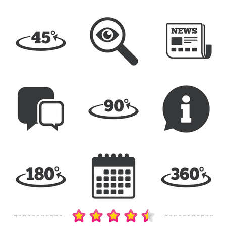 Angle 45-360 degrees icons. Geometry math signs symbols. Full complete rotation arrow. Newspaper, information and calendar icons. Investigate magnifier, chat symbol. Vector