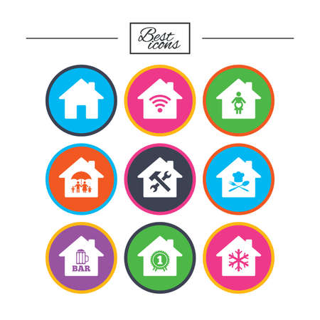 Real estate icons. Home insurance, maternity hospital and wifi internet signs. Restaurant, service and air conditioning symbols. Classic simple flat icons. Vector Illustration