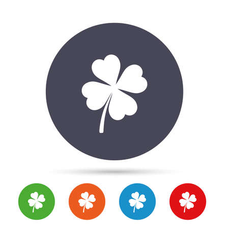 patrick: Clover with four leaves sign icon. Saint Patrick symbol. Round colourful buttons with flat icons. Vector
