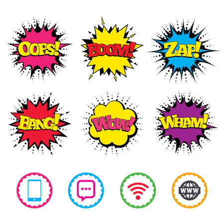 Comic Wow, Oops, Boom and Wham sound effects. Communication icons. Smartphone and chat speech bubble symbols. Wifi and internet globe signs. Zap speech bubbles in pop art. Vector Stock Illustratie