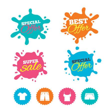 Beste spandoeken voor aanbieding en verkoop. Kleren pictogrammen. T-shirt en bermuda's tekenen. Zwembroek symbool. Webwinkellabels. Vector