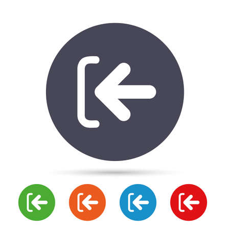 Login sign icon. Sign in symbol. Arrow. Round colourful buttons with flat icons. Vector