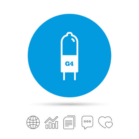 Light bulb icon. Lamp G4 socket symbol. Led or halogen light sign. Copy files, chat speech bubble and chart web icons. Vector Illustration