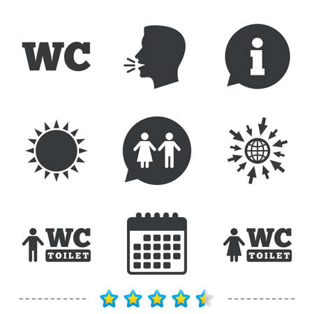 WC Toilet icons. Gents and ladies room signs. Man and woman speech bubble symbol. Information, go to web and calendar icons. Sun and loud speak symbol. Vector Иллюстрация