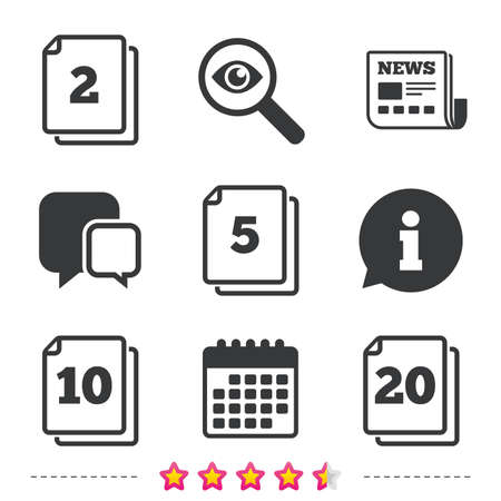 In pack sheets icons. Quantity per package symbols. 2, 5, 10 and 20 paper units in the pack signs. Newspaper, information and calendar icons. Investigate magnifier, chat symbol. Vector Иллюстрация