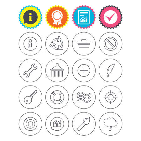 Report, information and award signs. Universal icons. Information, shopping basket and shower. Repair tool, home key and brush. Comic speech bubble, target aim and quotes. Check tick symbol. Vector Illustration